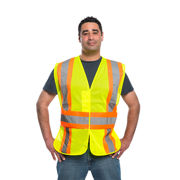 Utility Pro Class 2 Hi Vis Yellow Two Tone Adjustable Mesh Vest with Teflon Fabric Protector UHV312