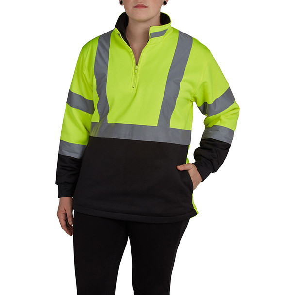 Utility Pro Class 2 Hi Vis Yellow Ladies Black Bottom 1/4 Zip Pullover with Teflon Protector UHV667 Front