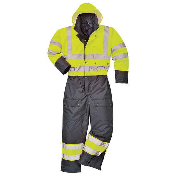PortWest Class 3 Hi Vis Quilt Lined Coveralls S485 Yellow/Black
