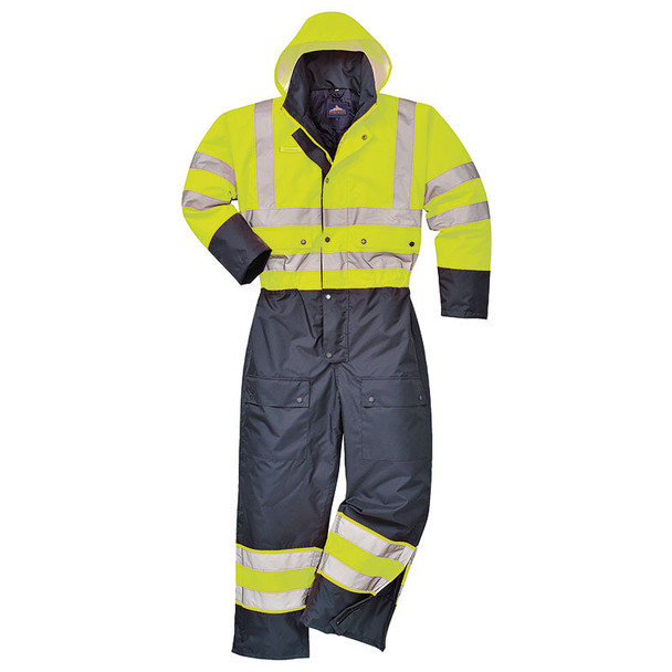 PortWest Class 3 Hi Vis Quilt Lined Coveralls S485 Yellow/Navy Front