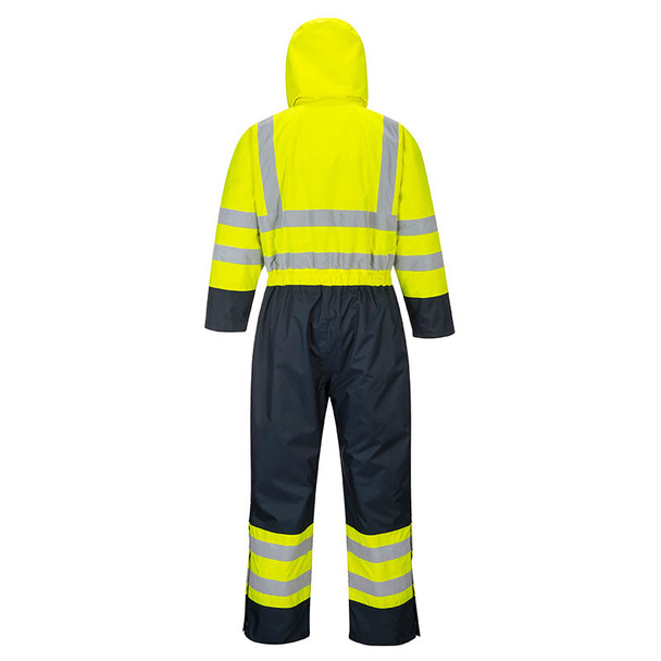 PortWest Class 3 Hi Vis Quilt Lined Coveralls S485 Yellow/Navy Back
