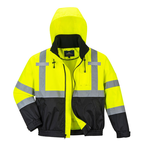 PortWest Class 3 Hi Vis 2-in-1 Bomber Jacket US364 Front Unzipped