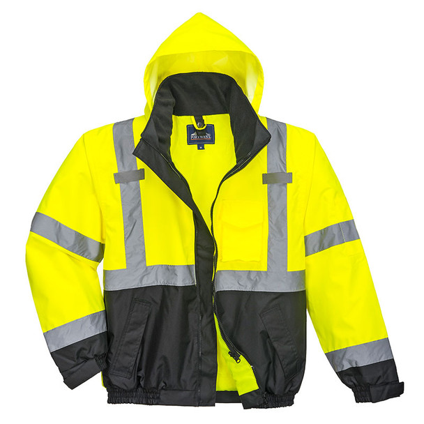 PortWest Class 3 Hi Vis 3-in-1 Bomber Jacket US365 Front