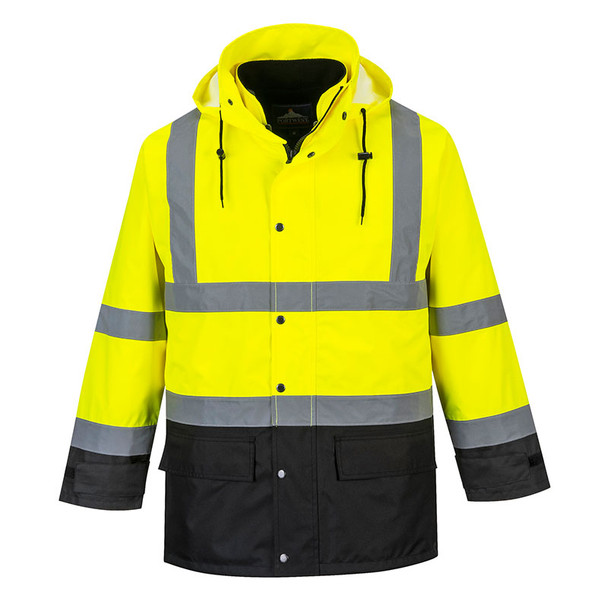 PortWest Class 3 Hi Vis 5-in-1 Executive Jacket US768 Yellow/Black Front
