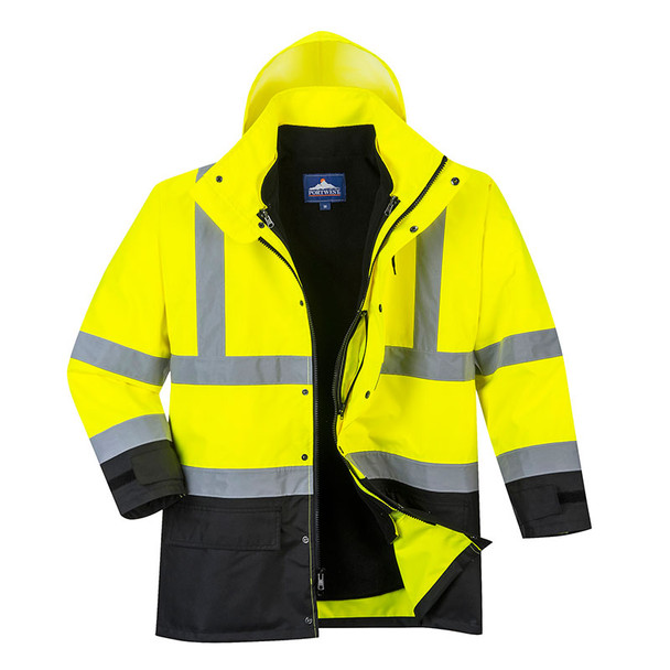 PortWest Class 3 Hi Vis 5-in-1 Executive Jacket US768 Yellow/Black Front Unzipped