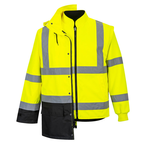 PortWest Class 3 Hi Vis 5-in-1 Executive Jacket US768 with Inside Jacket
