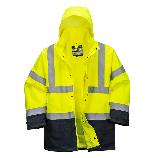 PortWest Class 3 Hi Vis 5-in-1 Executive Jacket US768 Yellow/Black Open Front