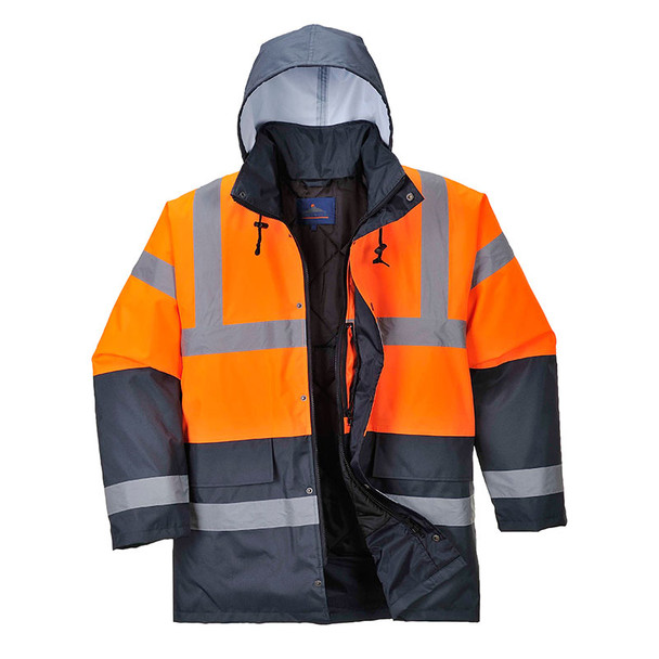 PortWest Class 3 Hi Vis Two-Tone Traffic Jacket US467 Orange/Navy Front with Hood