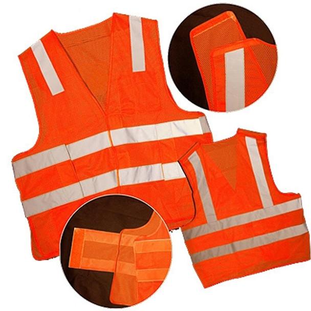 Macro Industries Class 2 Hi Vis Orange Break Away Mesh Safety Vest SV8000