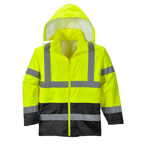 PortWest Class 3 Hi Vis Yellow with Black Bottom Classic Rain Jacket UH443 Front