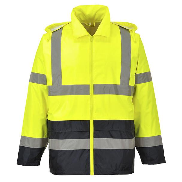 PortWest Class 3 Hi Vis Yellow with Black Bottom Classic Rain Jacket UH443 Back