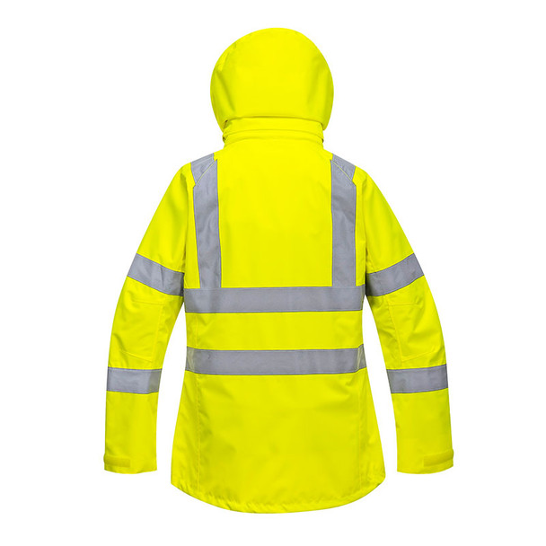 PortWest Class 3 Hi Vis Yellow Ladies Breathable Jacket LW70 Back