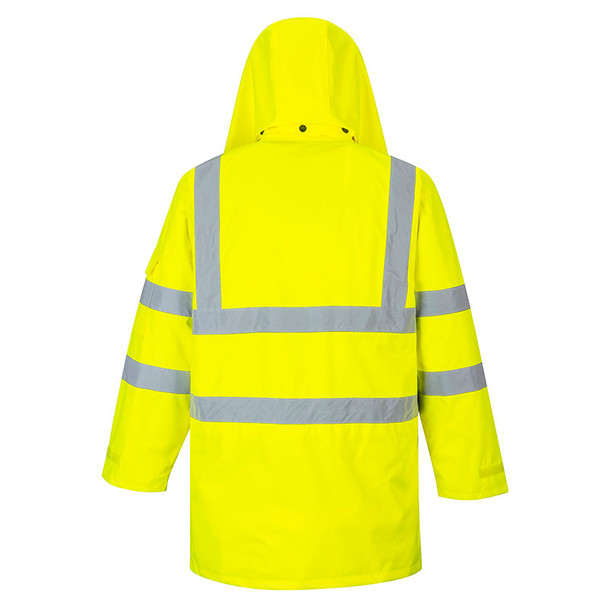 PortWest Class 3 Hi Vis Yellow 7-in-1 Traffic Jacket US427 Back
