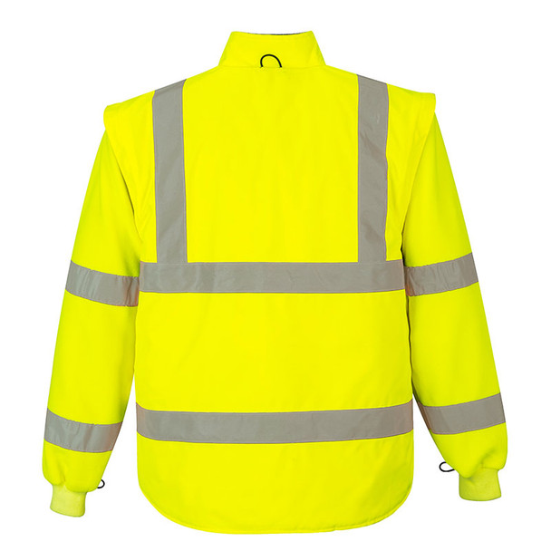 PortWest Class 3 Hi Vis Yellow 7-in-1 Traffic Jacket US427 Back Liner