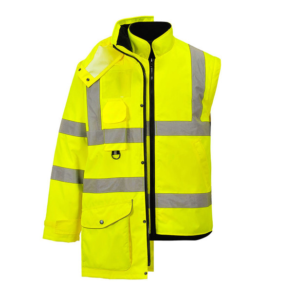 PortWest Class 3 Hi Vis Yellow 7-in-1 Traffic Jacket US427 with Jacket and Vest Liner