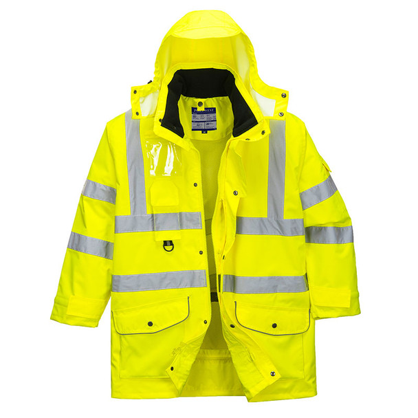 PortWest Class 3 Hi Vis Yellow 7-in-1 Traffic Jacket US427 Front Unzipped