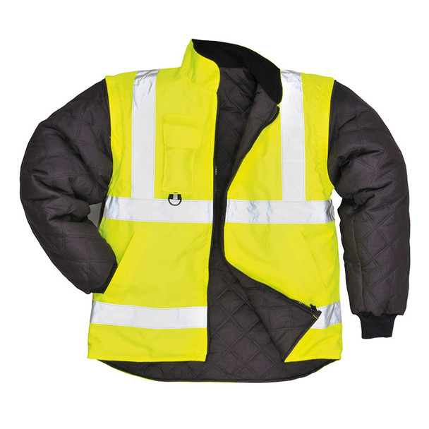 PortWest Class 3 Hi Vis Yellow 7-in-1 Traffic Jacket US427 Liner with Sleeves