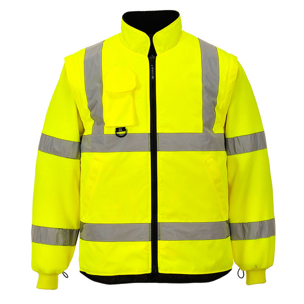 PortWest Class 3 Hi Vis Yellow 7-in-1 Traffic Jacket US427 Front Liner