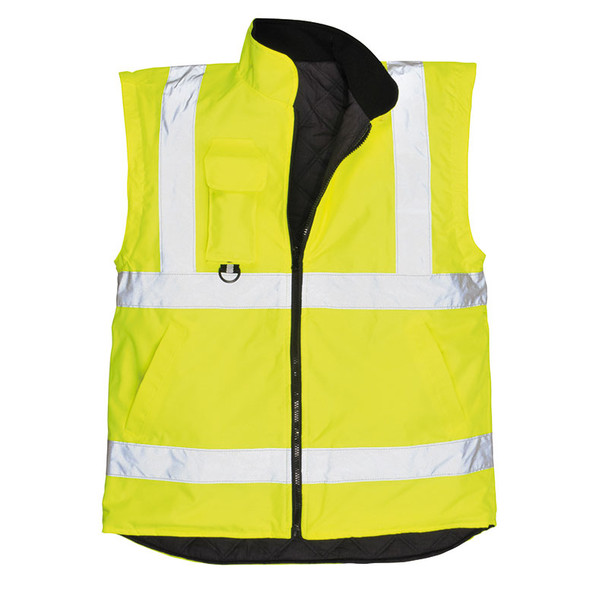 PortWest Class 3 Hi Vis Yellow 7-in-1 Traffic Jacket US427 Liner Vest Front