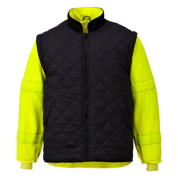 PortWest Class 3 Hi Vis Yellow 7-in-1 Traffic Jacket US427 Liner with Sleeves Reversed