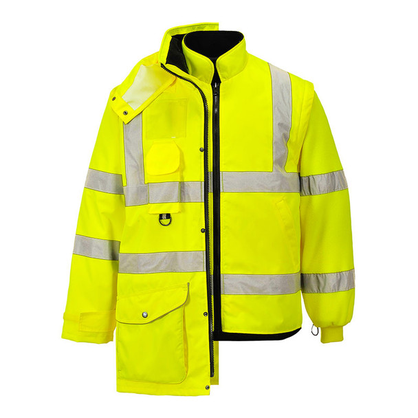 PortWest Class 3 Hi Vis Yellow 7-in-1 Traffic Jacket US427 with Jacket and Liner