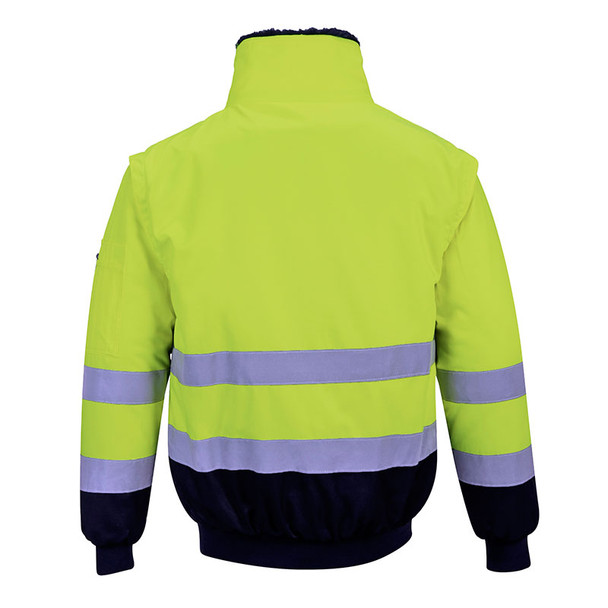 PortWest Class 3 Hi Vis 3-in-1 Pilot Jacket UPJ50 Yellow Back