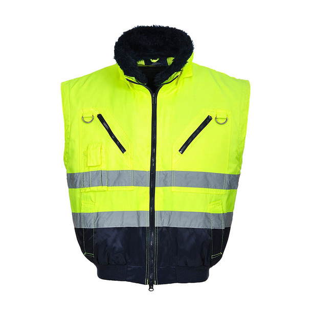 PortWest Class 3 Hi Vis 3-in-1 Pilot Jacket UPJ50 Yellow Vest Front