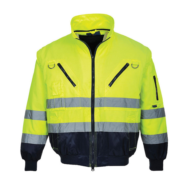PortWest Class 3 Hi Vis 3-in-1 Pilot Jacket UPJ50 Yellow Liner Front