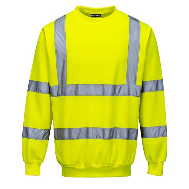 PortWest Class 3 Hi Vis Yellow Crew Neck Sweatshirt B303 Front