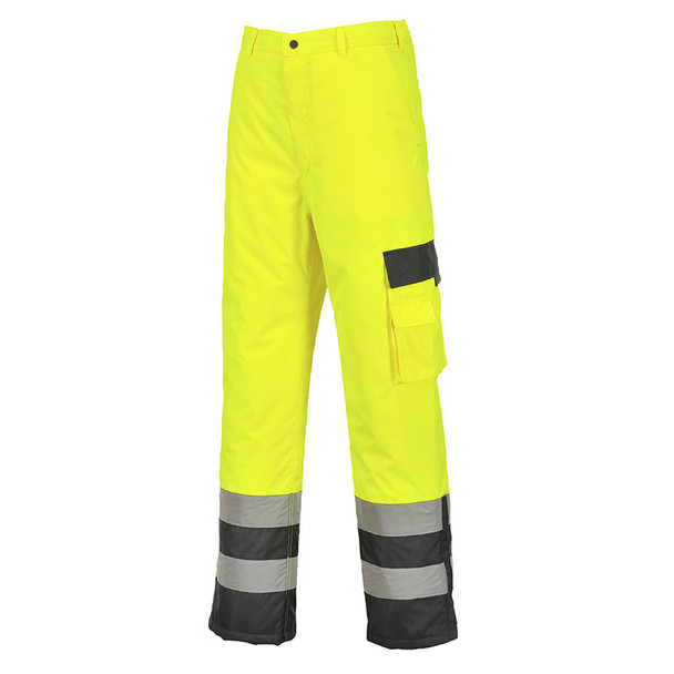 PortWest Class E Hi Vis Lined Pants with Navy Bottom S686