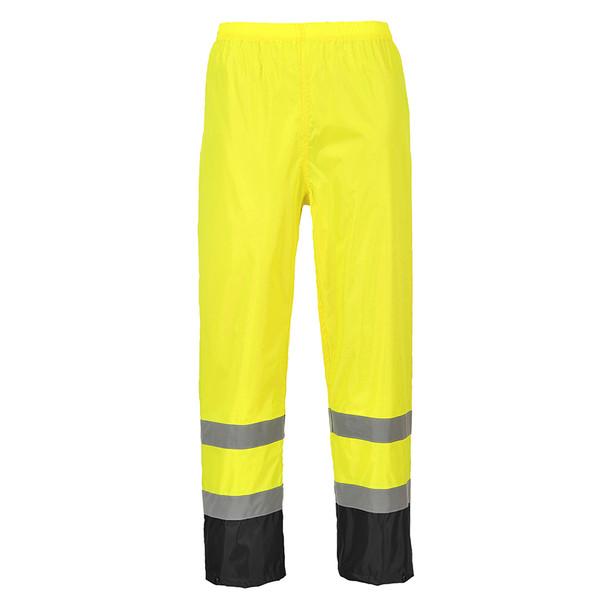 PortWest Class E Hi Vis Yellow with Black Bottom Classic Rain Pants H444