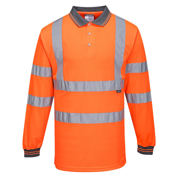 PortWest Class 3 Hi Vis Long Sleeve Polo S277 Orange Front