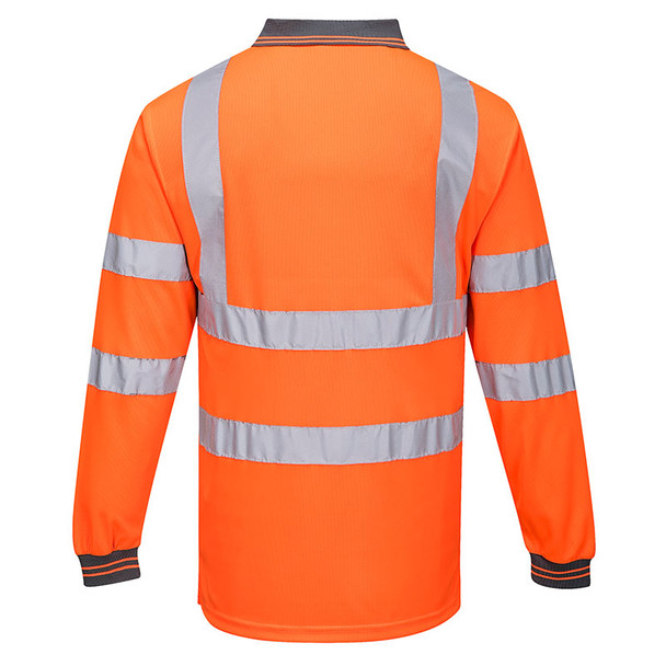 PortWest Class 3 Hi Vis Long Sleeve Polo S277 Orange Back