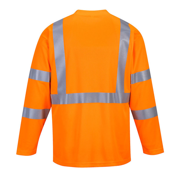 PortWest Class 3 Hi Vis Long Sleeve T-Shirt with Pocket S191 Orange Back