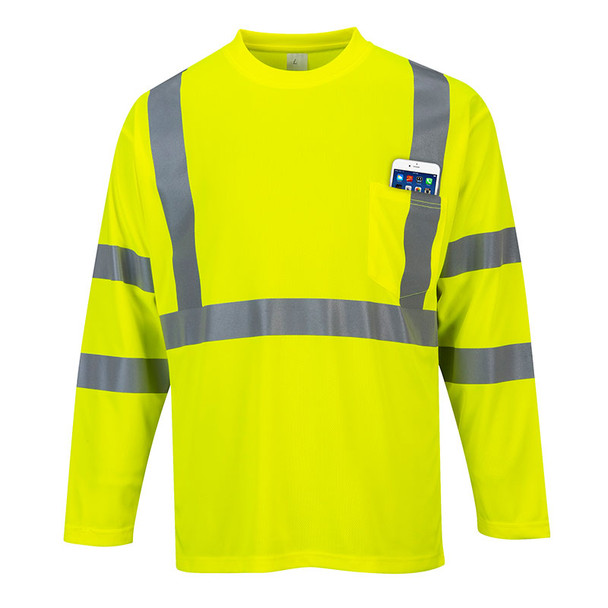 PortWest Class 3 Hi Vis Long Sleeve T-Shirt with Pocket S191 Yellow Front with Pocket Full