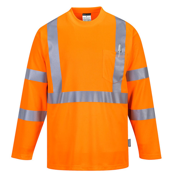 PortWest Class 3 Hi Vis Long Sleeve T-Shirt with Pocket S191 Orange Front
