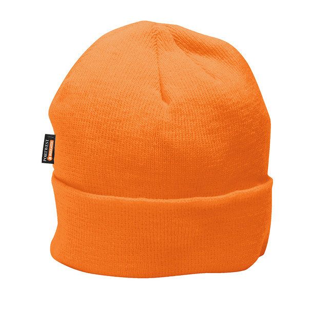 PortWest Hi Vis Insulated Lined Knit Cap B013-HV Orange