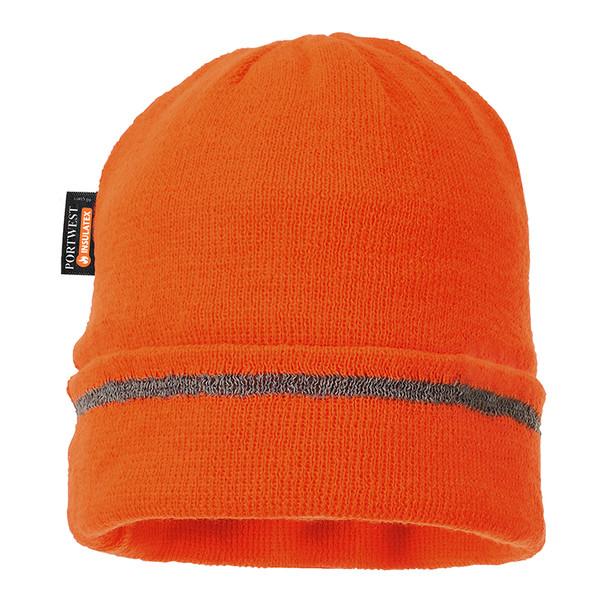 PortWest Reflective Trim Visibility Insulatex Lined Knit Hat B023-HV Orange