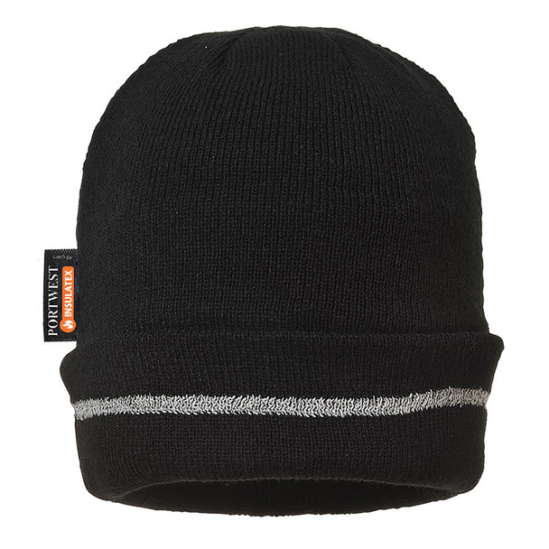 PortWest Reflective Trim Visibility Insulatex Lined Knit Hat B023 Black