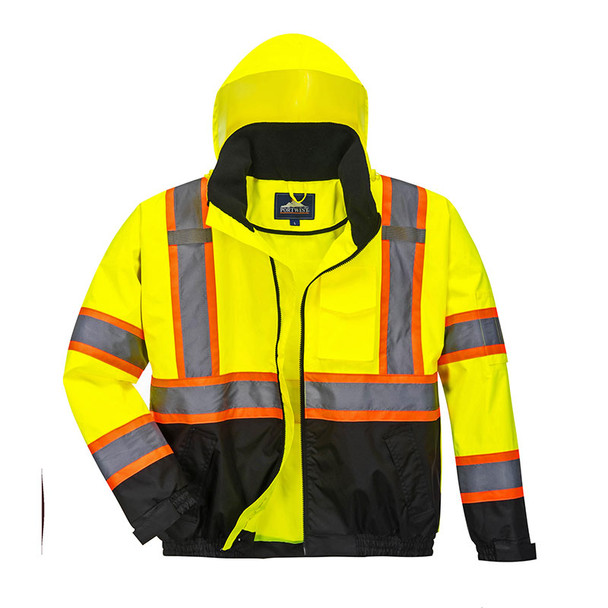 PortWest Class 3 Hi Vis Yellow Two-Tone Black Bottom Bomber Jacket US368 Unzipped