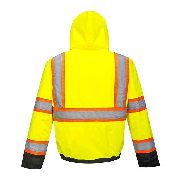 PortWest Class 3 Hi Vis Yellow Two-Tone Black Bottom Bomber Jacket US368 Back