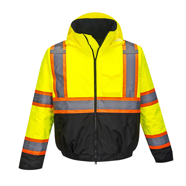PortWest Class 3 Hi Vis Yellow Two-Tone Black Bottom Bomber Jacket US368 Front