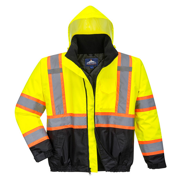PortWest Class 3 Hi Vis Yellow Two-Tone Black Bottom Bomber Jacket US368 with Hood