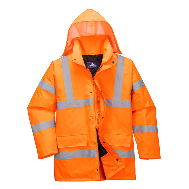 PortWest Class 3 Hi Vis Orange Traffic Jacket URT30 Orange with Hood