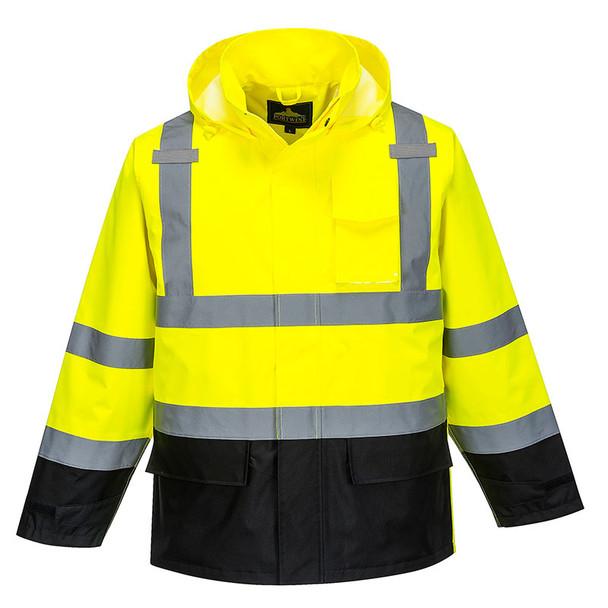 PortWest Class 3 Hi Vis Yellow Black Bottom Rain Jacket US366 Front