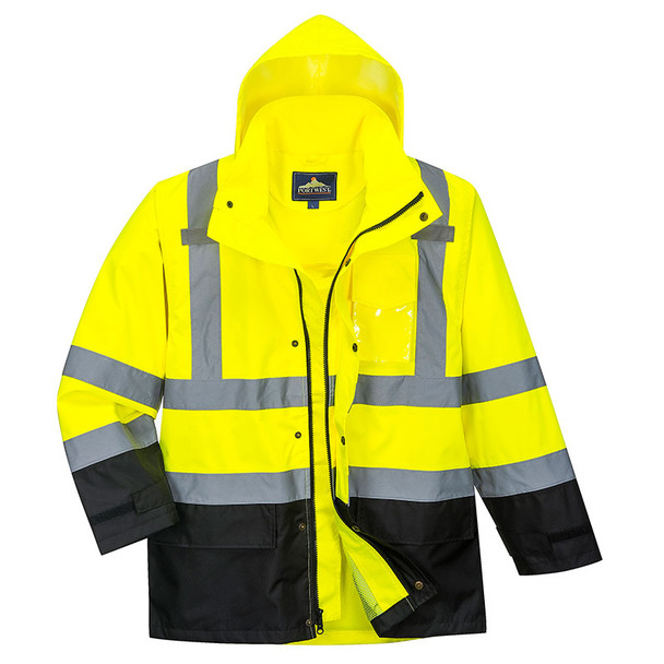 PortWest Class 3 Hi Vis Yellow Black Bottom Rain Jacket US366 with Hood