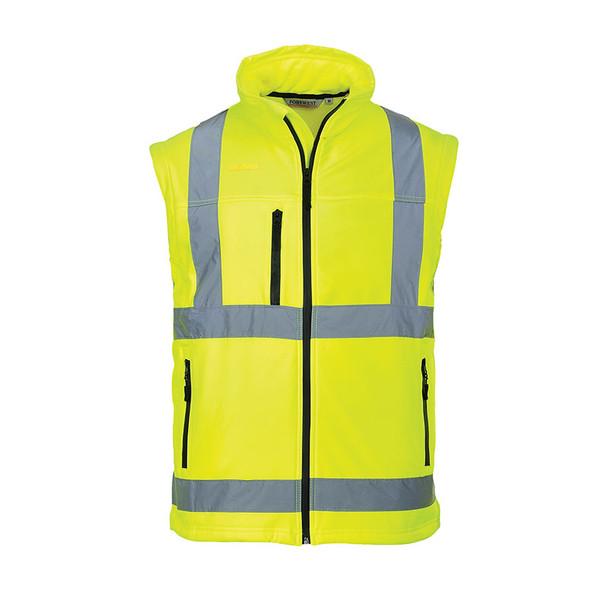 PortWest Class 3 Hi Vis 2-in-1 Softshell Jacket US428 Yellow Vest