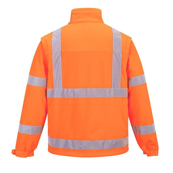PortWest Class 3 Hi Vis 2-in-1 Softshell Jacket US428 Orange Back