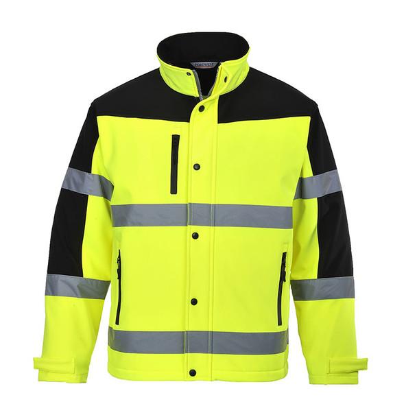 PortWest Class 3 Hi Vis SoftShell Jacket US429 Front