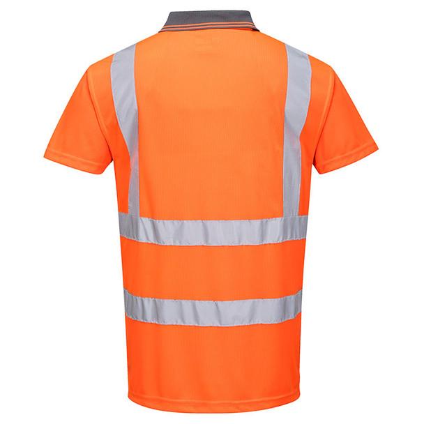 PortWest Class 2 Hi Vis Orange Moisture Wicking Short Sleeve Polo RT22 Back
